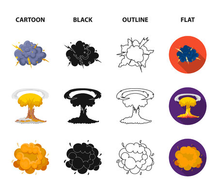 Flame, sparks, hydrogen fragments, atomic or gas explosion. Explosions set collection icons in cartoon,black,outline,flat style bitmap symbol stock illustration .