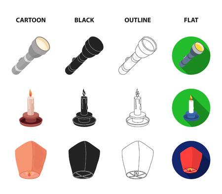 Searchlight, kerosene lamp, candle, flashlight.Light source set collection icons in cartoon,black,outline,flat style bitmap symbol stock illustration .