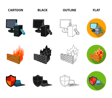 System, internet, connection, code .Hackers and hacking set collection icons in cartoon,black,outline,flat style bitmap symbol stock illustration .