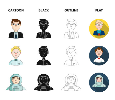 Doctor in a dressing-gown with a red cross on his head, a hacker with a beard in a T-shirt and glasses, a businessman in a tie, a waiter in a gastronome, a butterfly. People of different professions set collection icons in cartoon,black,outline,flat style bitmap symbol stock illustration .