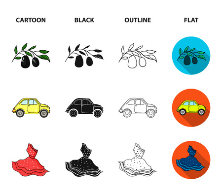 Mandolin, papa, olive, retro auto.Italy country set collection icons in cartoon,black,outline,flat style bitmap symbol stock illustration .