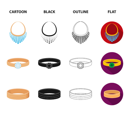 Wedding rings, cuff links, diamond necklace, women ring with a stone. Jewelery and accessories set collection icons in cartoon,black,outline,flat style bitmap symbol stock illustration . Stock Photo