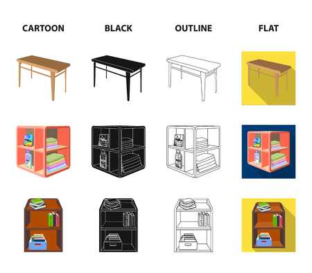 Soft sofa, toilet make-up table, dining table, shelving for laundry and detergent. Furniture and interior set collection icons in cartoon,black,outline,flat style isometric bitmap symbol stock illustration .