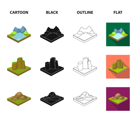 Mountains, rocks and landscape. Relief and mountains set collection icons in cartoon,black,outline,flat style isometric bitmap symbol stock illustration . Stock fotó