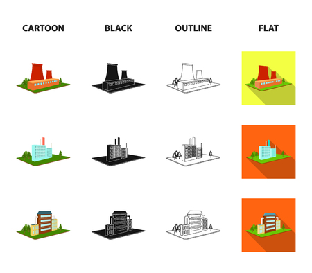 Processing factory,metallurgical plant. Factory and industry set collection icons in cartoon,black,outline,flat style isometric bitmap symbol stock illustration . Stock Photo