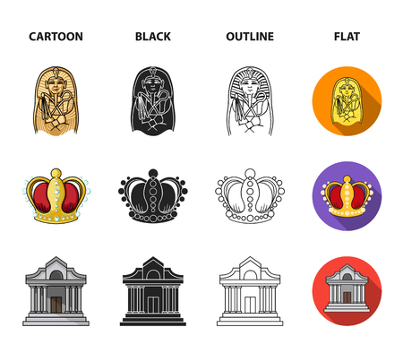 Picture, sarcophagus of the pharaoh, walkie-talkie, crown. Museum set collection icons in cartoon,black,outline,flat style bitmap symbol stock illustration .