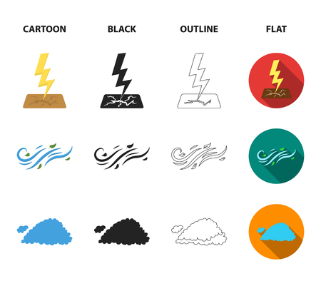 Humidity, icicles, thunderbolt, windy weather. Weather set collection icons in cartoon,black,outline,flat style bitmap symbol stock illustration .