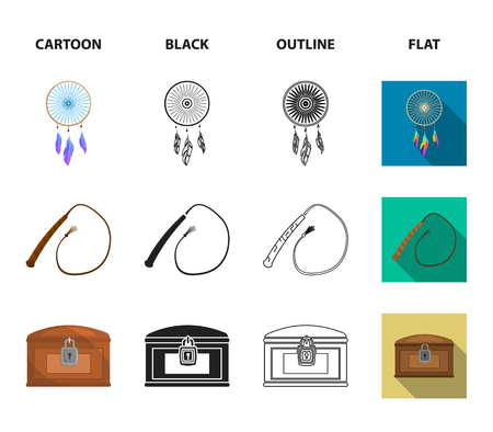 Saddle, Indian mohawk, whip, dream catcher.Wild west set collection icons in cartoon,black,outline,flat style bitmap symbol stock illustration .