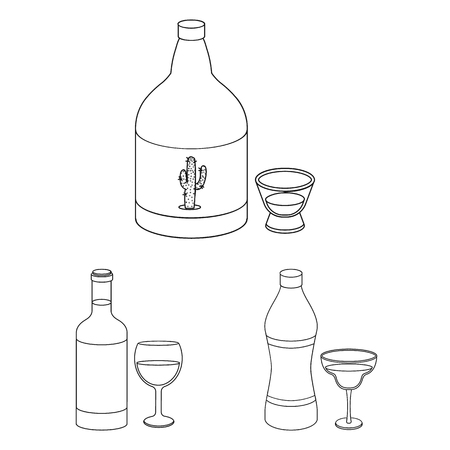 Types of alcohol outline icons in set collection for design. Alcohol in bottles vector symbol stock  illustration. 向量圖像
