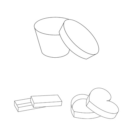 Different boxes outline icons in set collection for design.Packing box vector symbol stock  illustration. Ilustração