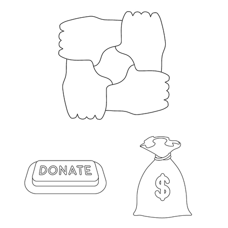 Charity and donation outline icons in set collection for design. Material aid vector symbol stock  illustration.