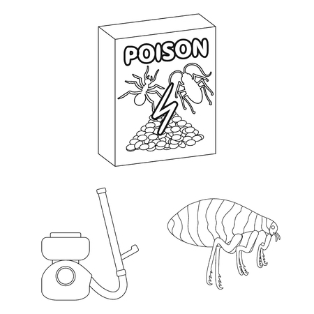Pest, poison, personnel and equipment outline icons in set collection for design. Pest control service vector symbol stock  illustration. Illustration