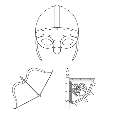 Vikings and attributes outline icons in set collection for design.Old Norse Warrior vector symbol stock  illustration. Illustration