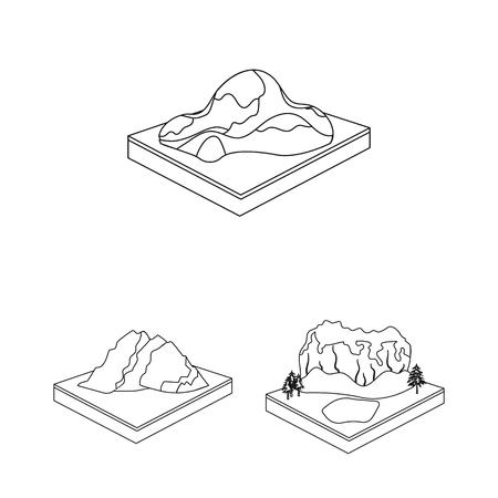 Montañas, iconos de contorno masivo de colección set de diseño. La superficie de la ilustración de stock de símbolo isométrico de vector de tierra.