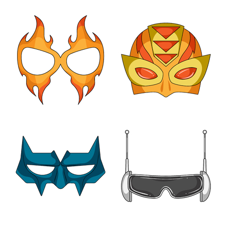 Vector design of hero and mask sign. Collection of hero and superhero stock symbol for web.