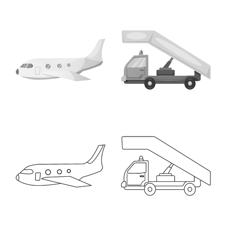 Isolated object of airport and airplane icon. Collection of airport and plane stock symbol for web.