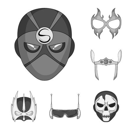 Isolated object of hero and mask logo. Set of hero and superhero stock vector illustration.