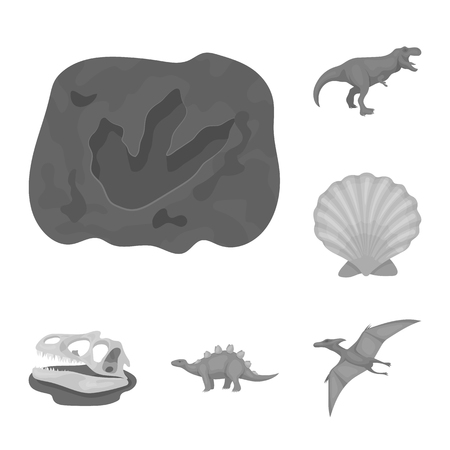 Different dinosaurs monochrome icons in set collection for design. Prehistoric animal vector symbol stock web illustration. Ilustração