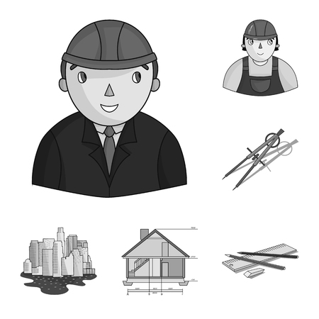 Architecture and construction monochrome icons in set collection for design. Architect and equipment vector symbol stock web illustration.
