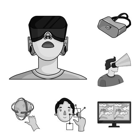 Un monocromo de realidad virtual, los iconos de colección set de diseño. Ilustración de stock de símbolo de vector de tecnología moderna y equipo.