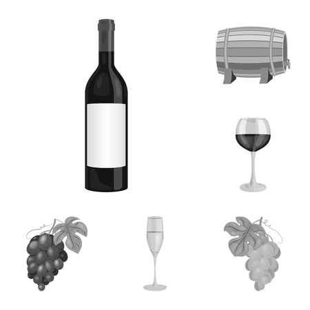 Wine products monochrome icons in set collection for design. Equipment and production of wine vector symbol stock web illustration.
