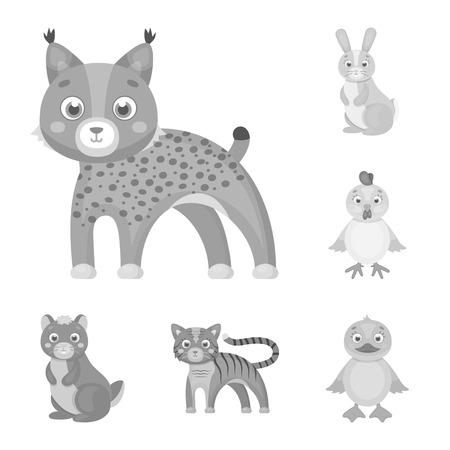 Toy animals monochrome icons in set collection for design. Bird, predator and herbivore vector symbol stock web illustration. Illustration