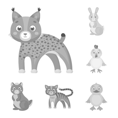 Toy animals monochrome icons in set collection for design. Bird, predator and herbivore vector symbol stock web illustration. Stock Illustratie