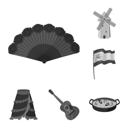 Spain country monochrome icons in set collection for design.Travel and attractions vector symbol stock web illustration. Illustration