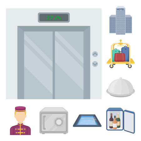 Hotel and equipment cartoon icons in set collection for design. Hotel and comfort vector symbol stock  illustration.