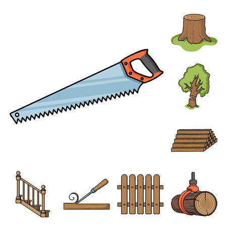 Sawmill and Timber cartoon icons in set collection for design. Hardware and Tools vector symbol stock  illustration. Illustration