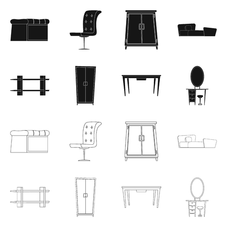 Vector illustration of furniture and apartment icon. Set of furniture and home vector icon for stock. Vectores