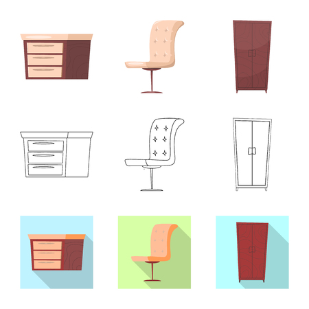 Vector illustration of furniture and apartment logo. Set of furniture and home stock vector illustration.