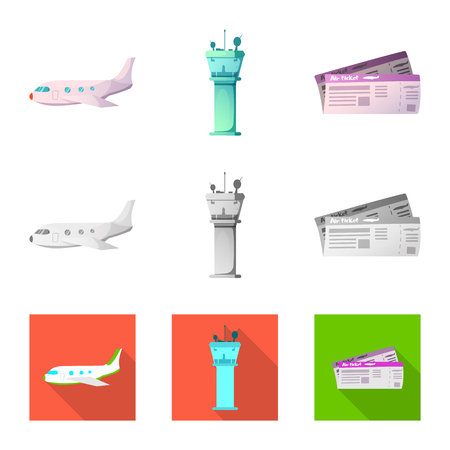 Vector design of airport and airplane logo. Collection of airport and plane stock symbol for web.