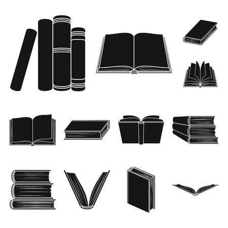 Book bound black icons in set collection for design. Printed products vector symbol stock web illustration. Ilustrace
