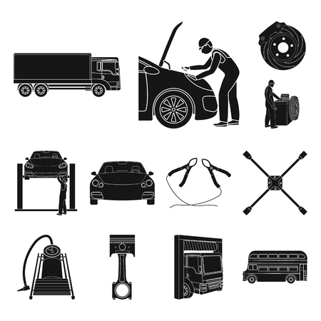 Car, lift, pump and other equipment black icons in set collection for design. Car maintenance station vector symbol stock illustration web.