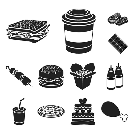 Fast food black icons in set collection for design.Food from semi-finished products vector symbol stock web illustration.