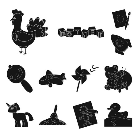 Children s toy black icons in set collection for design. Game and bauble vector symbol stock web illustration.
