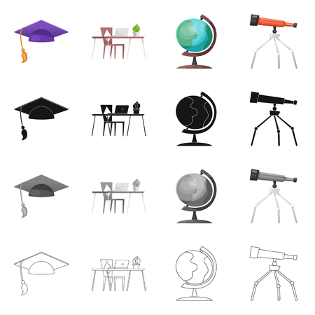 Isolated object of education and learning symbol. Collection of education and school vector icon for stock.