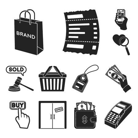 E-commerce, achat et vente d'icônes noires dans la collection de jeu pour la conception. Commerce et finance vecteur symbole stock illustration web.