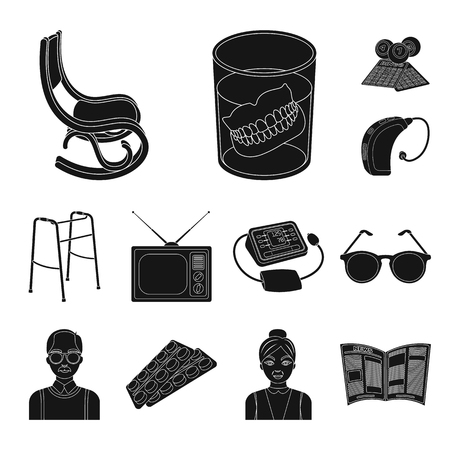 Human old age black icons in set collection for design. Pensioner, period of life vector symbol stock web illustration. Ilustracja