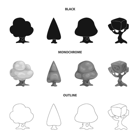 Isolated object of tree and nature sign. Collection of tree and crown stock vector illustration.
