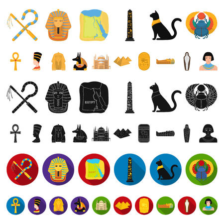 Ancient Egypt cartoon icons in set collection for design. The reign of Pharaoh vector symbol stock web illustration.