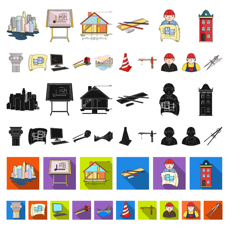 Architecture and construction cartoon icons in set collection for design. Architect and equipment vector symbol stock web illustration.
