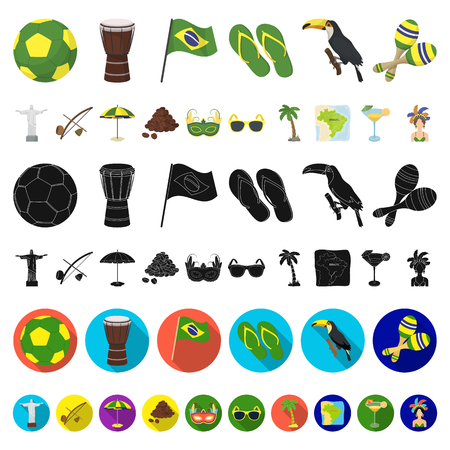 Country Brazil cartoon icons in set collection for design. Travel and attractions Brazil vector symbol stock web illustration.