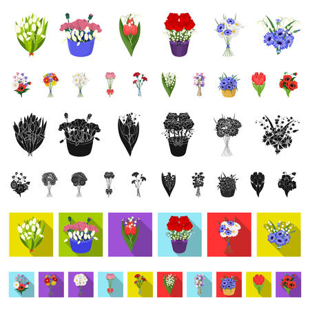 A bouquet of fresh flowers cartoon icons in set collection for design. Various bouquets vector symbol stock web illustration.
