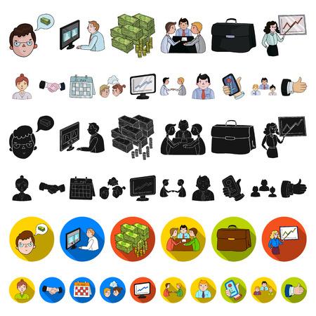 Icone del fumetto di affari e di incontro di affari nella raccolta dell'insieme per progettazione Illustrazione di web delle azione di simbolo di vettore di addestramento e di affari.