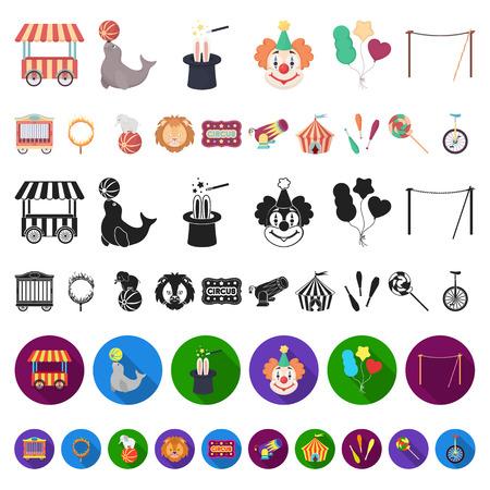 Circo y atributos de dibujos animados iconos de colección set de diseño. Ilustración de stock de símbolo de vector de arte de circo.