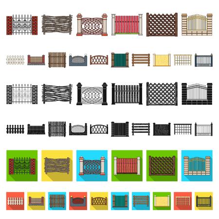 Different fence cartoon icons in set collection for design.Decorative fencing vector symbol stock web illustration. Illusztráció