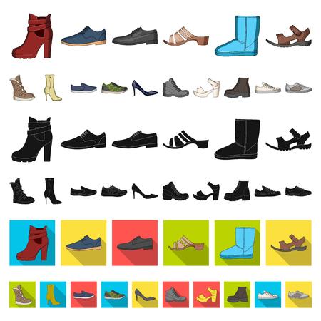 Icone del fumetto di scarpe diverse nella raccolta di set per il design. Scarpe da uomo e da donna simbolo vettore illustrazione stock.