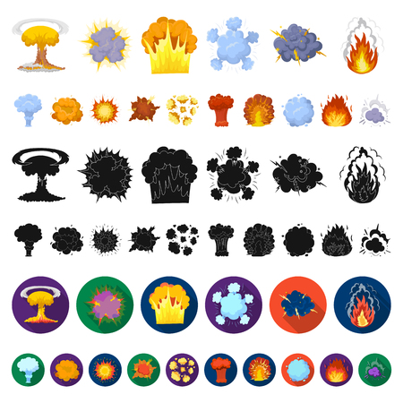 Different explosions cartoon icons in set collection for design.Flash and flame vector symbol stock  illustration. Vettoriali